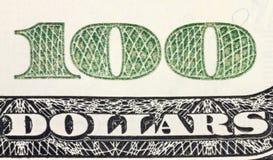 100 долларов угла кредитки Стоковое фото RF