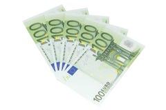 100 европейских изолированных бумажных денег - Стоковые Фото