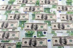 100 евро и долларов Стоковое Фото