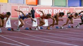 100 женщин метров чемпионата атлетики Стоковое фото RF