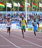100 метров людей Багам ямайки Кореи Стоковое Изображение