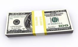 100 представленных бумажных денег 3d Иллюстрация штока