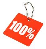 100 процентов значения бирки Стоковая Фотография