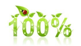 100 процентов иконы естественных Стоковые Изображения RF