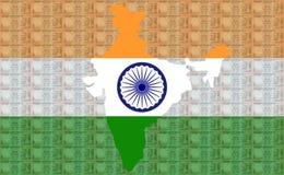 100 рупий карты Индии Стоковое фото RF