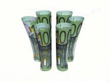 100 свернутых евро счетов Стоковые Изображения