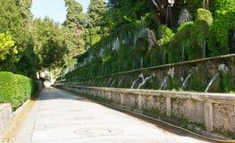 100 фонтанов в d'Este виллы в Tivoli Стоковая Фотография