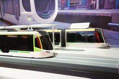 100%低楼层LRV电车设计 库存图片