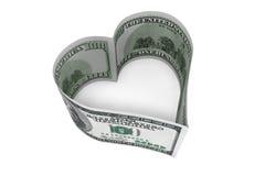 100 долларов счета как сердце Стоковая Фотография