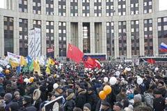 100.000 ensamblan la reunión de la protesta de la avenida de Moscú Sakharov Foto de archivo