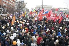 100.000 ensamblan la reunión de la protesta de la avenida de Moscú Sakharov Fotos de archivo