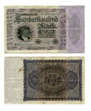 100,000 German Marks. 100,000 Mark note from Germany during the hyperinflation of 1923 Stock Images