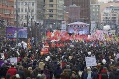100.000 joignent le rassemblement de protestation d'avenue de Moscou Sakharov Photographie stock