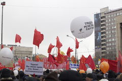 100.000 joignent le rassemblement de protestation d'avenue de Moscou Sakharov Image stock