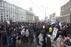 100,000 join Moscow Sakharov avenue protest rally. 100 thousands in Moscow protest Putin, election results. It's the biggest protest in Russia  for the last 20 Stock Images