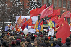 100,000 join Moscow Sakharov avenue protest rally. 100 thousands in Moscow protest Putin, election results. It's the biggest protest in Russia  for the last 20 Royalty Free Stock Photography