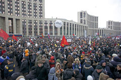 100,000 join Moscow Sakharov avenue protest rally. 100 thousands in Moscow protest Putin, election results. It's the biggest protest in Russia  for the last 20 Royalty Free Stock Image