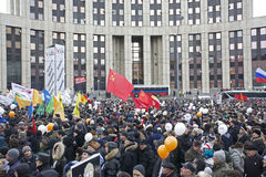 100,000 join Moscow Sakharov avenue protest rally. 100 thousands in Moscow protest Putin, election results. It's the biggest protest in Russia  for the last 20 Stock Photo