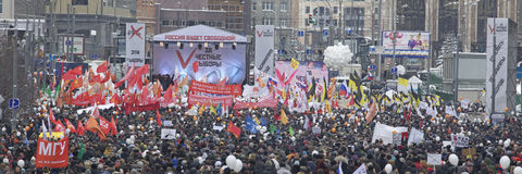 100,000 join Moscow Sakharov avenue protest rally Stock Photo