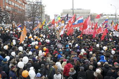 100,000 join Moscow Sakharov avenue protest rally. 100 thousands in Moscow protest Putin, election results. It's the biggest protest in Russia  for the last 20 Stock Photos