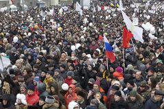 100,000 join Moscow Sakharov avenue protest rally. 100 thousands in Moscow protest Putin, election results. It's the biggest protest in Russia  for the last 20 Royalty Free Stock Photo