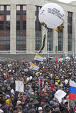 100,000 join Moscow Sakharov avenue protest rally. 100 thousands in Moscow protest Putin, election results. It's the biggest protest in Russia  for the last 20 Stock Photography