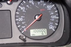 100,000 mile odometer Royalty Free Stock Photo