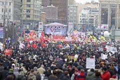 100.000 sluiten zich aan bij de verzameling van het de wegprotest van Moskou Sakharov Royalty-vrije Stock Foto's
