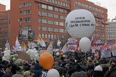100.000 sluiten zich aan bij de verzameling van het de wegprotest van Moskou Sakharov Stock Foto's