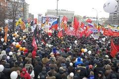 100.000 uniscono il raduno di protesta del viale di Mosca Sakharov Fotografie Stock