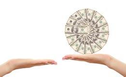 доллары вручают 100 Стоковое Изображение RF