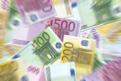 100,200,500 Euro Notes Texture Stock Photography