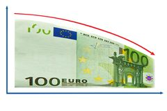 рецессия евро 100 диаграмм изолированная финансами Стоковое Фото