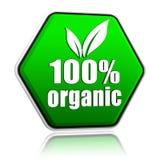 100百分比有机与叶子签到绿色按钮 免版税库存照片