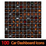 100 икон приборной панели автомобиля. Стоковое фото RF