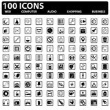 100 установленных значков сеты вектора. Сета, компьютер, дело, ходя по магазинам Стоковые Изображения