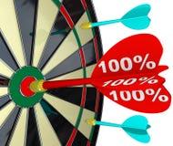 击中掷镖的圆靶完善的比分的100%箭 库存图片