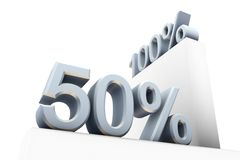 100 and 50 percent. One hundred and fifty percent signs on white Stock Illustration