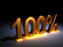 100 %. Light golden 100% text on dark area - 3d render Royalty Free Stock Photography
