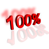 100%. 3d 100% over white background with shadow and reflection Royalty Free Stock Photos