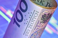 Заполированность банкнота 100 злотых Стоковая Фотография