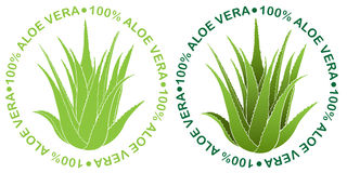 100% Aloe Vera seal. Supporting Seal for Aloe Vera products in two variations Stock Images