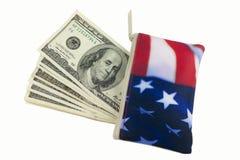 100 amerykański rachunków dolara flaga portfel Zdjęcia Stock