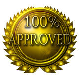 100% approved. Gold medal with 100% approved written on it Stock Images