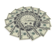 $100 banknotes on white background. 3d illustration Stock Photos