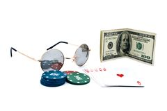 100$ banknoty,chips of poker and playing cards Stock Image