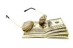 100$ banknoty and glasses Royalty Free Stock Image