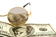 100$ banknoty and glasses Royalty Free Stock Photo