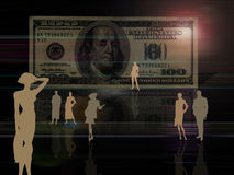 $100 bill background with silhouettes. Artistic $100 bill background and active people silhouettes Royalty Free Stock Photo