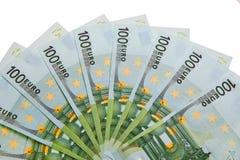 100 billetes de banco euro. Foto de archivo